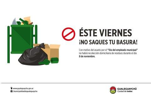 El viernes 8 de noviembre no habrá recolección de residuos en la ciudad