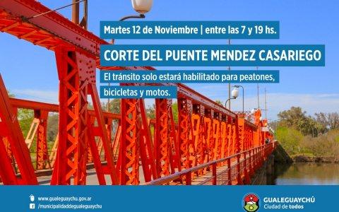Puente Méndez Casariego: Cortarán la circulación este martes