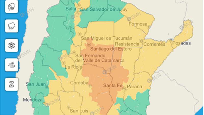 Alerta por tormentas para varias provincias, incluida una parte de Entre Ríos
