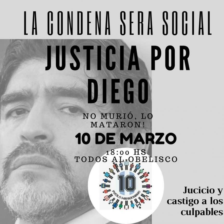 """""""No murió, lo mataron"""": convocan una marcha para pedir justicia por Maradona"""