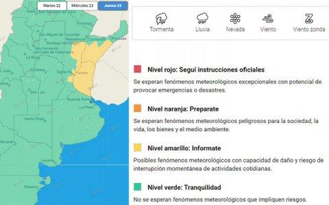 Entre Ríos: emiten alerta amarillo por tormentas